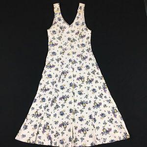 Vintage 90s Floral Maxi Dress Button Down Summer